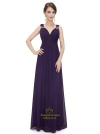 Purple Sweetheart Chiffon Bridesmaid Dresses With Beaded ...