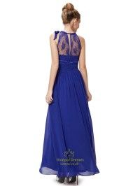 Royal Blue Lace Illusion Neckline Chiffon Floor Length ...