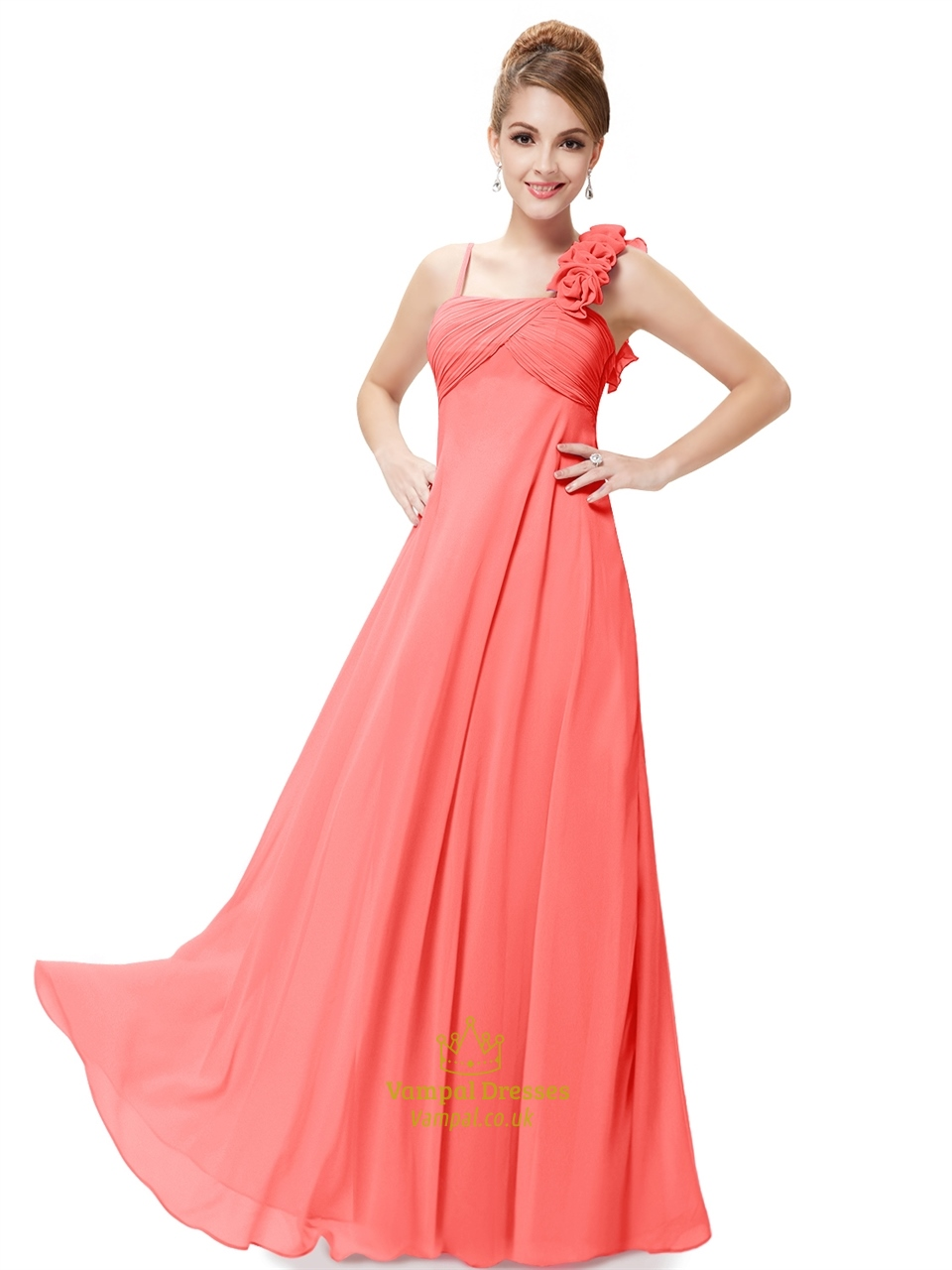 Orange Spaghetti Strap Chiffon Bridesmaid Dresses With