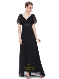 Black V Neck Chiffon Long Bridesmaid Dress With Flutter ...