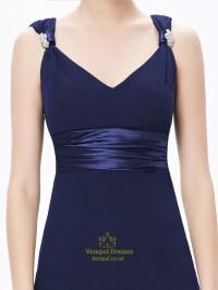 Navy Blue V Neck Chiffon Long Bridesmaid Dresses With ...