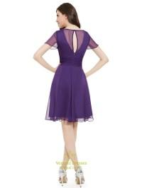 Purple Chiffon V-Neck Knee Length Bridesmaid Dress With ...