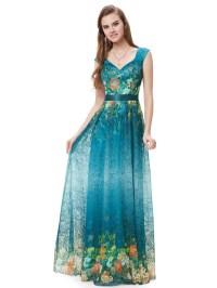 Elegant Teal Blue V-Neck Floral Print Prom Dresses With ...