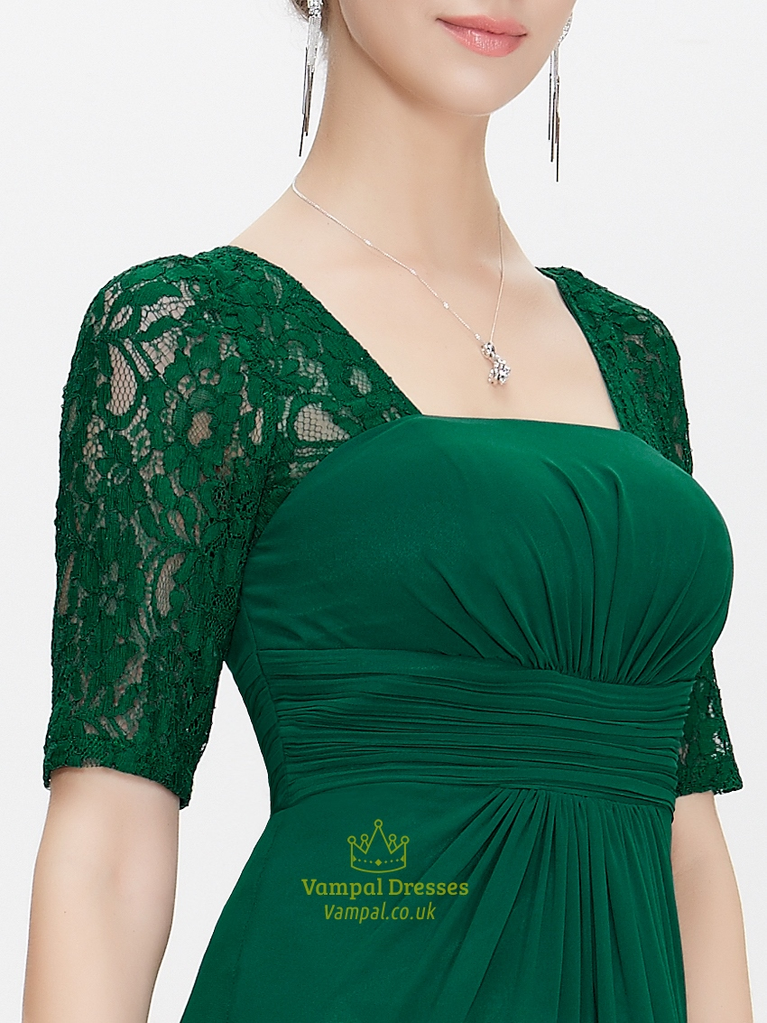 Emerald Green Empire Waist Chiffon Bridesmaid Dresses With