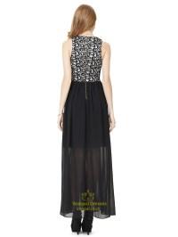 Black Lace Bodice Chiffon Bridesmaid Dress With Split ...