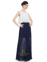 White And Navy Blue Crinkle Chiffon Bridesmaid Dress With ...