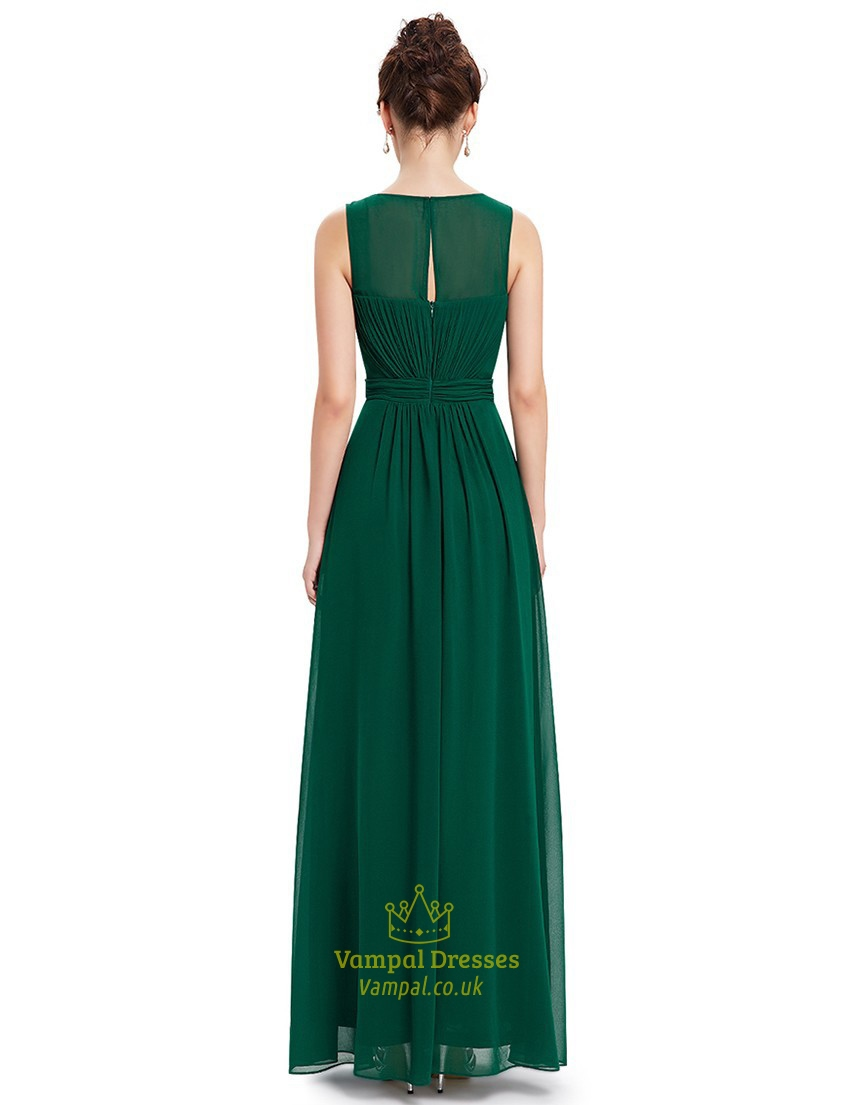 Emerald Green Chiffon Floor Length Bridesmaid Dresses With