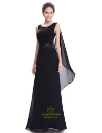 Elegant Black Chiffon Embellished Prom Dress With Watteau ...
