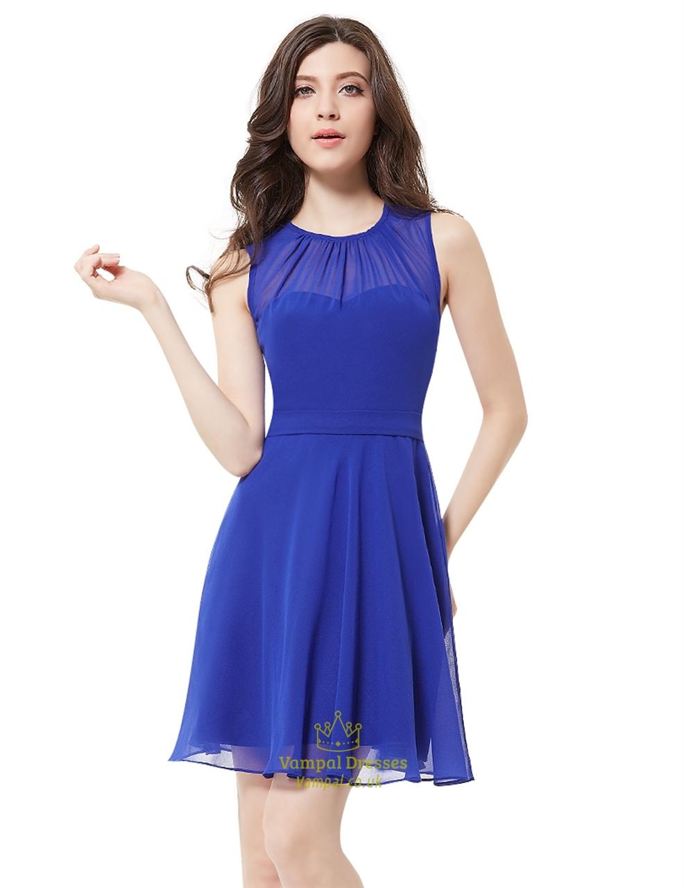 Elegant Royal Blue Illusion Neckline Chiffon Short