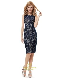 Navy Blue Lace Knee Length Sheath Dresses For Mother Of ...