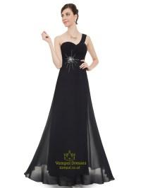 Black Chiffon One Shoulder Long Bridesmaid Dress With ...
