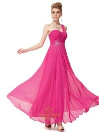 Hot Pink Chiffon One Shoulder Long Bridesmaid Dress With ...