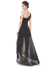 Black One Shoulder High Low Chiffon Bridesmaid Dress With ...
