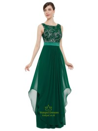 Elegant Emerald Green Chiffon Bridesmaid Dresses With Lace ...