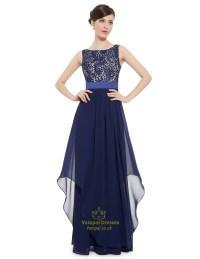 Elegant Navy Blue Chiffon Long Bridesmaid Dresses With ...