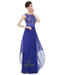 Elegant Royal Blue Chiffon Long Bridesmaid Dresses With ...