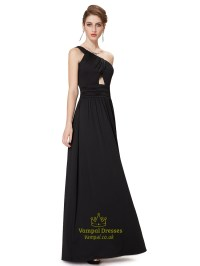 Black One Shoulder Chiffon Long Bridesmaid Dress With ...
