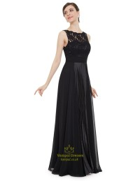 Elegant Black Lace Illusion Neckline Chiffon Long ...