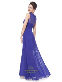 Royal Blue Chiffon Sheer Skirt Bridesmaid Dress With Lace ...