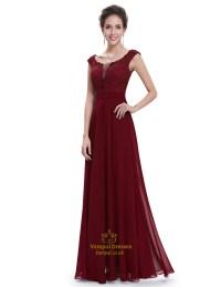 Burgundy Chiffon Cap Sleeves Long Bridesmaid Dresses With ...