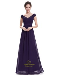 Purple V Neck Bridesmaid Dresses With Beaded Lace Applique ...