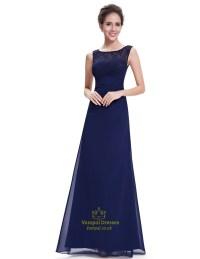 Elegant Navy Blue Chiffon Bridesmaid Dresses Lace Top ...