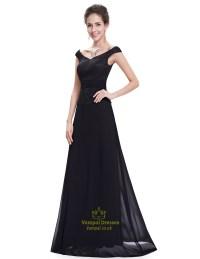 Black Chiffon Long Bridesmaid Dresses With Beaded Lace ...