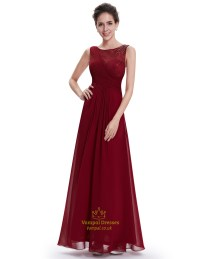 Burgundy Lace Top Chiffon Long Bridesmaid Dresses With ...