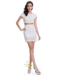 Cute White Lace Sheath Two Piece Cocktail Dress With Cap ...