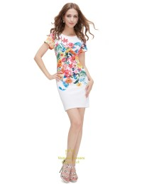 White Floral Print Bodycon Short Summer Dress With Short ...