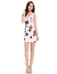 Cute White Short Mini Sheath Summer Dresses With Red ...