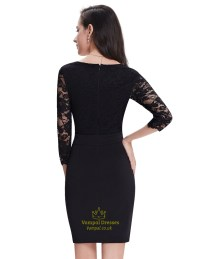 Short Black Cocktail Dress With Long Sleeves - Discount ...