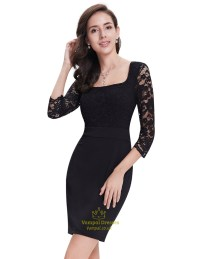 Black Lace Sheath Short Cocktail Dress With 3/4 Sleeves ...
