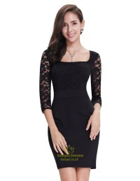 Black Lace Cocktail Dress With 34 Sleeves | www.pixshark ...