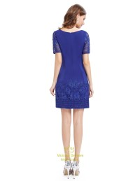 Casual Summer Royal Blue Sheath Dress With Short Sleeves ...