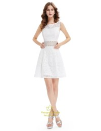 Cute Short White Lace Fit And Flare Dresses With Sheer Cut ...