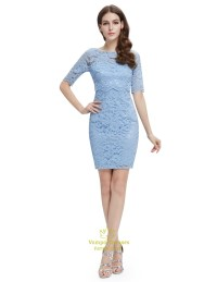 Light Blue Lace Sheath Cocktail Dress With Half Sleeves ...