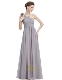 Grey Chiffon One Shoulder Flower Strap Long Bridesmaid