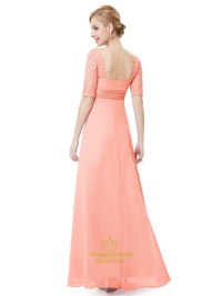Elegant Peach Long Chiffon Bridesmaid Dresses With Lace ...