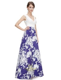 Blue And White V Neck Floral Print Maxi Prom Dress ...