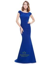Elegant Royal Blue Cap Sleeves Mermaid Prom Dress With ...