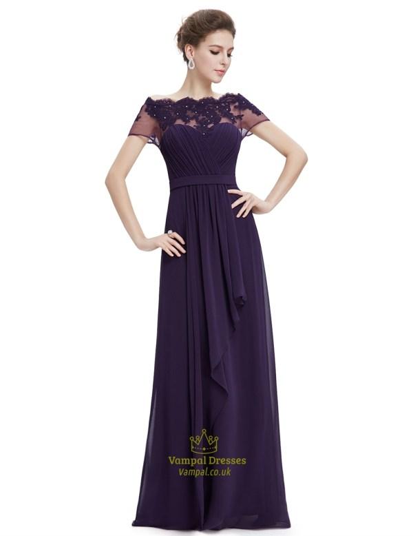 Purple Shoulder Chiffon Prom Dress With Beaded