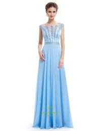 Light Blue Lace Illusion Neckline Chiffon Prom Dress With ...