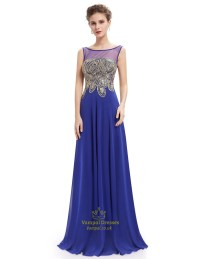 Elegant Royal Blue Sheer Illusion Neckline Chiffon Prom ...