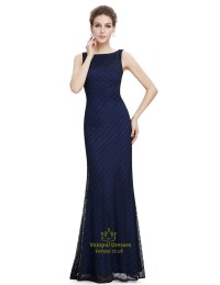 Navy Blue Lace Mermaid Long Bridesmaid Dress