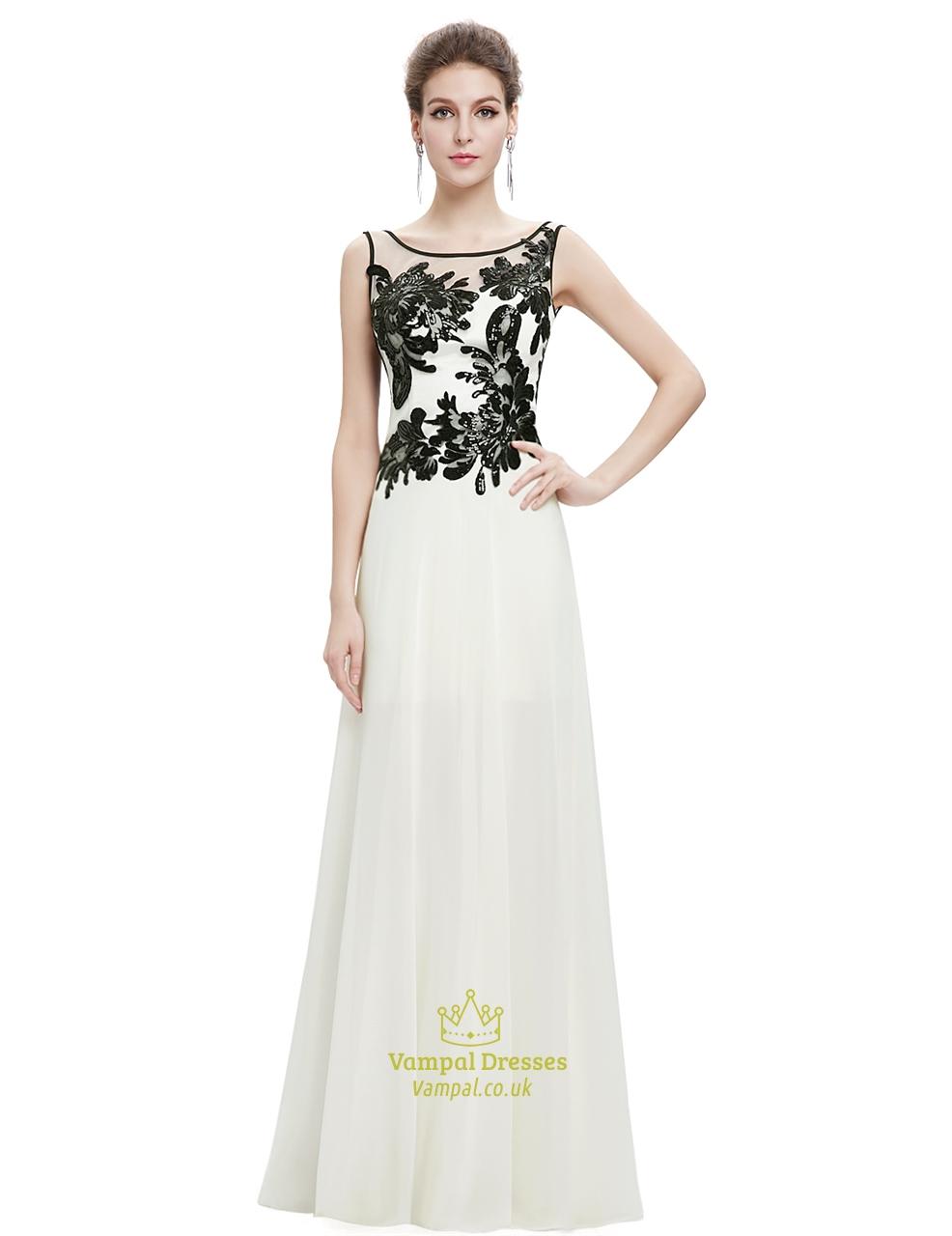 9e8cb81535 √ Ivory Chiffon Long Prom Dress With Black Lace Applique