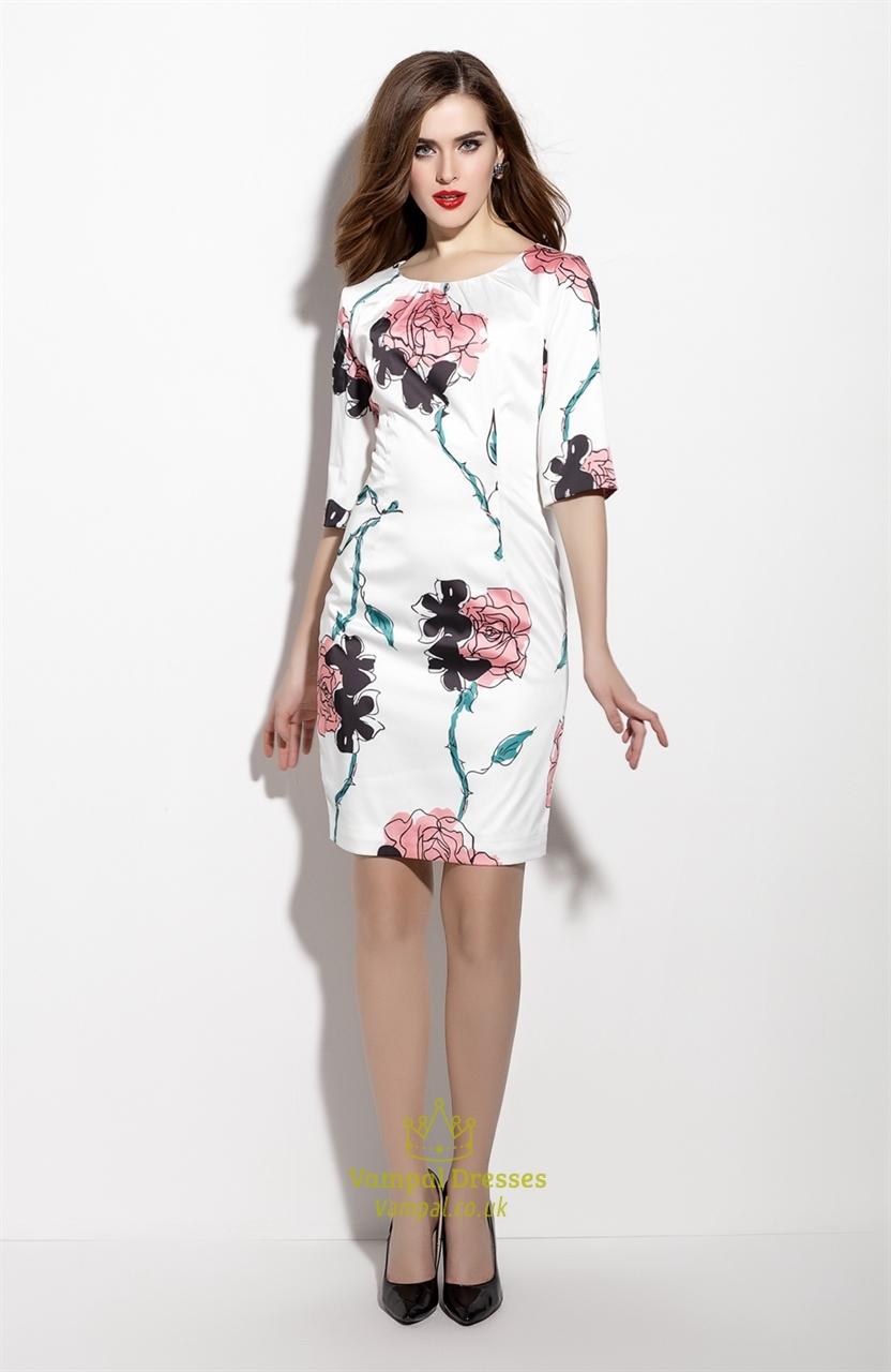 Floral Print Sheath Cocktail Dress With Three Quarter