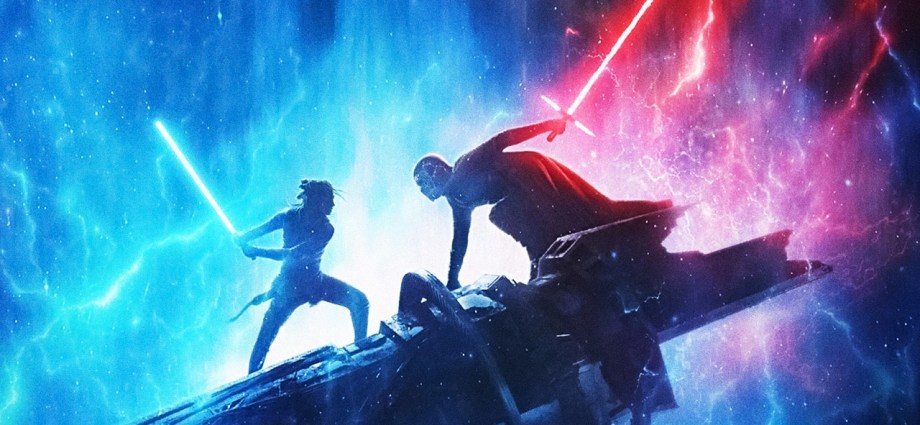 Star Wars Episodio IX l'ascesa di skywalker copertina Rey e Kylo Ren si affrontano in battaglia impugnando le spade laser