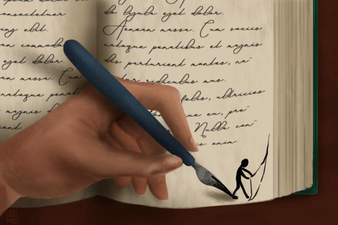 Una mano disegna con un pennino ad inchistro una piccola figura nell'angolo della pagina che cerca di sbirciare la pagina seguente.