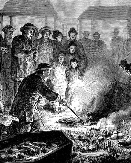 uomo che brucia il cadavere di un presunto vampiro - Considerazioni intorno alla magia postuma